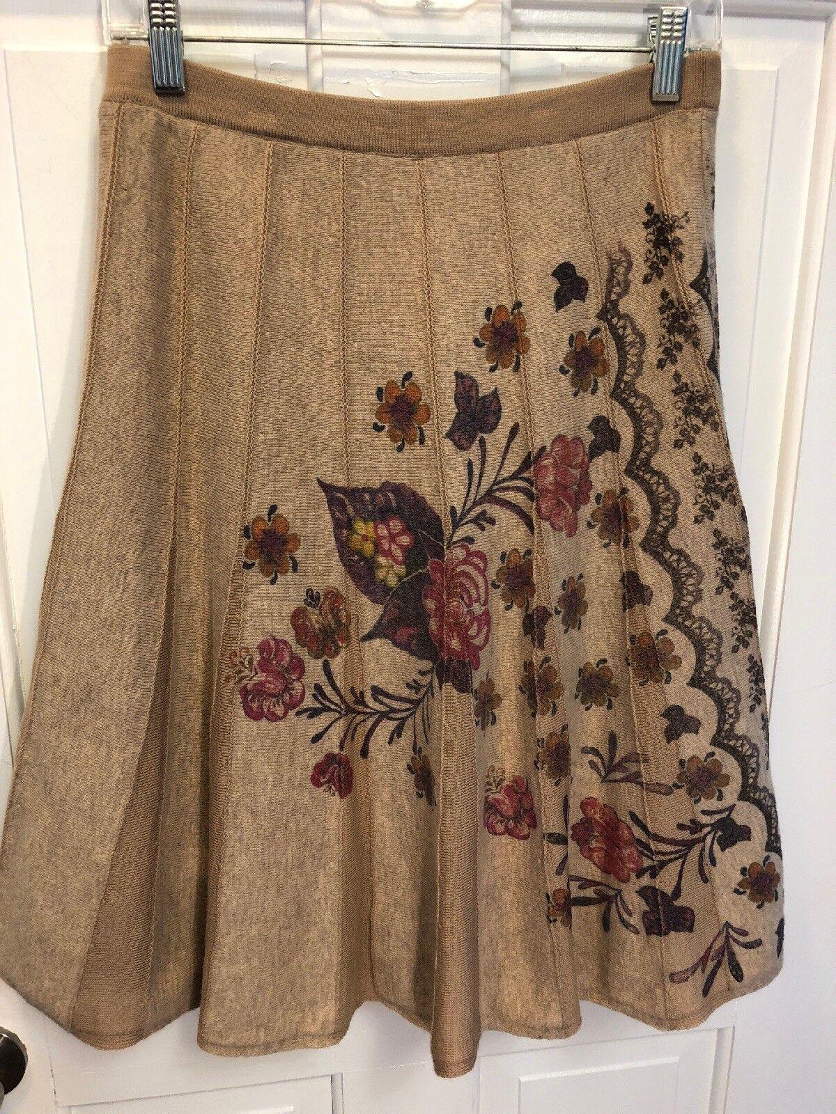 Anthropologie Ivko Floral Skirt 36 Small Wool Euc
