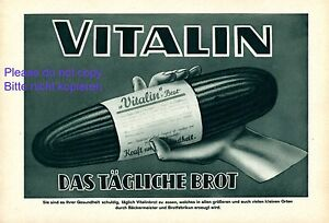 Vitalin il pane quotidiano pubblicità con loghi 1929 Austria forza salute panetteria +