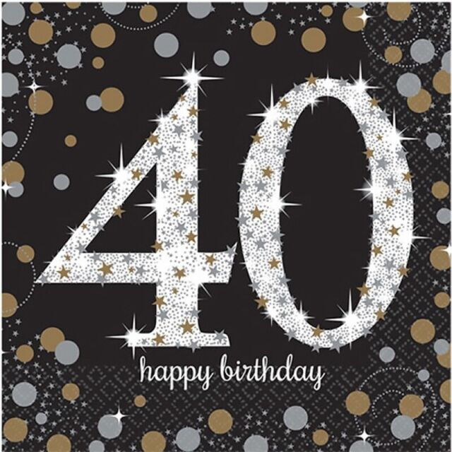 SPARKLING CELEBRATION AGE 40 LUNCH NAPKINS PACK OF 16 BIRTHDAY PARTY SUPPLIES