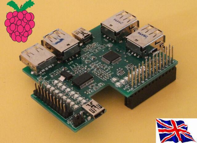 Rs-Pi 7 Ports USB Hub & I2C 23017 x1 16 bit GPIO function Board for Raspberry Pi