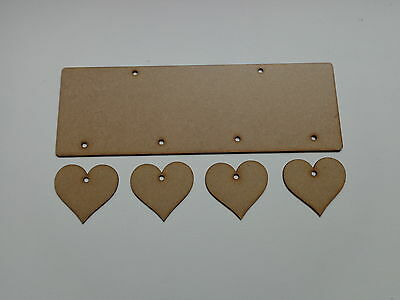 Hanging 4 Heart Plaque 2mm Wooden MDF Craft Blank