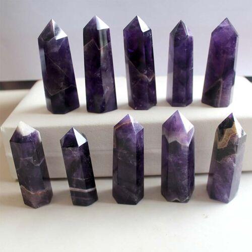 Natural Purple Dream Amethyst Quartz Crystal Stone Point Healing Hexagonal Wand0