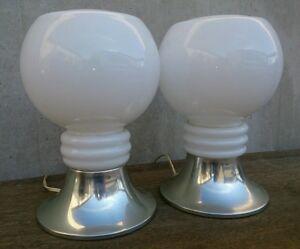 Lampade In Vetro Anni 70 : Coppia di lampade da tavolo vetro anni 70 mazzega nason ebay