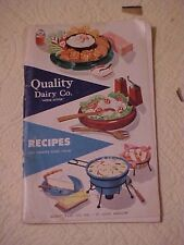 "Cookbooklet, QUALITY DAIRY CO. ""NONE BETTER"" RECIPES by Quality Dairy Co., STL"