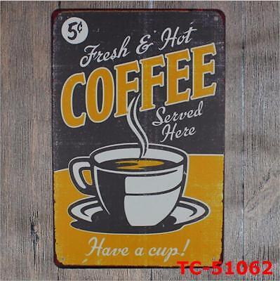 100 Espresso Coffee Cafe Pub Bar Decor Metal Round Shaped Vintage Tin Sign