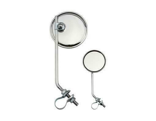 Two 2 Bicycle Chrome Round Mirrors W// Green Reflector 3 inch Diameter
