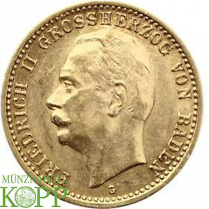 AA1979-J-191-BADEN-10-Mark-1909-G-Friedrich-II-1907-1918-Gold