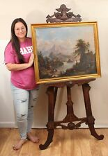 Large Antique East Lake Aesthetic Victorian Carved Walnut Painting Display Easel