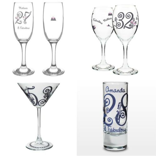 PERSONALISED Engraved Birthday Gift Present Wine Shot Flute Glass 40th 18th 21st