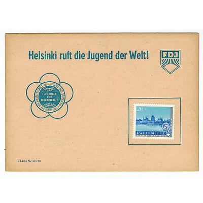 DDR Gedenkblatt FDJ Weltfestspiele 1962, Helsinki ruft die Jugend + Spendenmarke