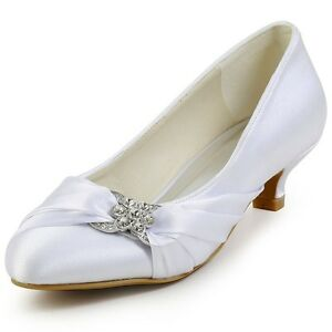 9fb892facaf4 Image is loading EP2006L-Closed-Toe-Comfort-Pumps-Rhinestones-Ruched-Satin-