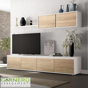 Dettagli su Parete attrezzata soggiorno TROPICAL rovere bianco opaco  moderna porta tv design