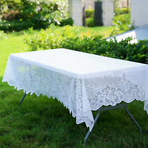 Image Is Loading White 60x108 Rectangle Fl Lace Tablecloth Wedding Party