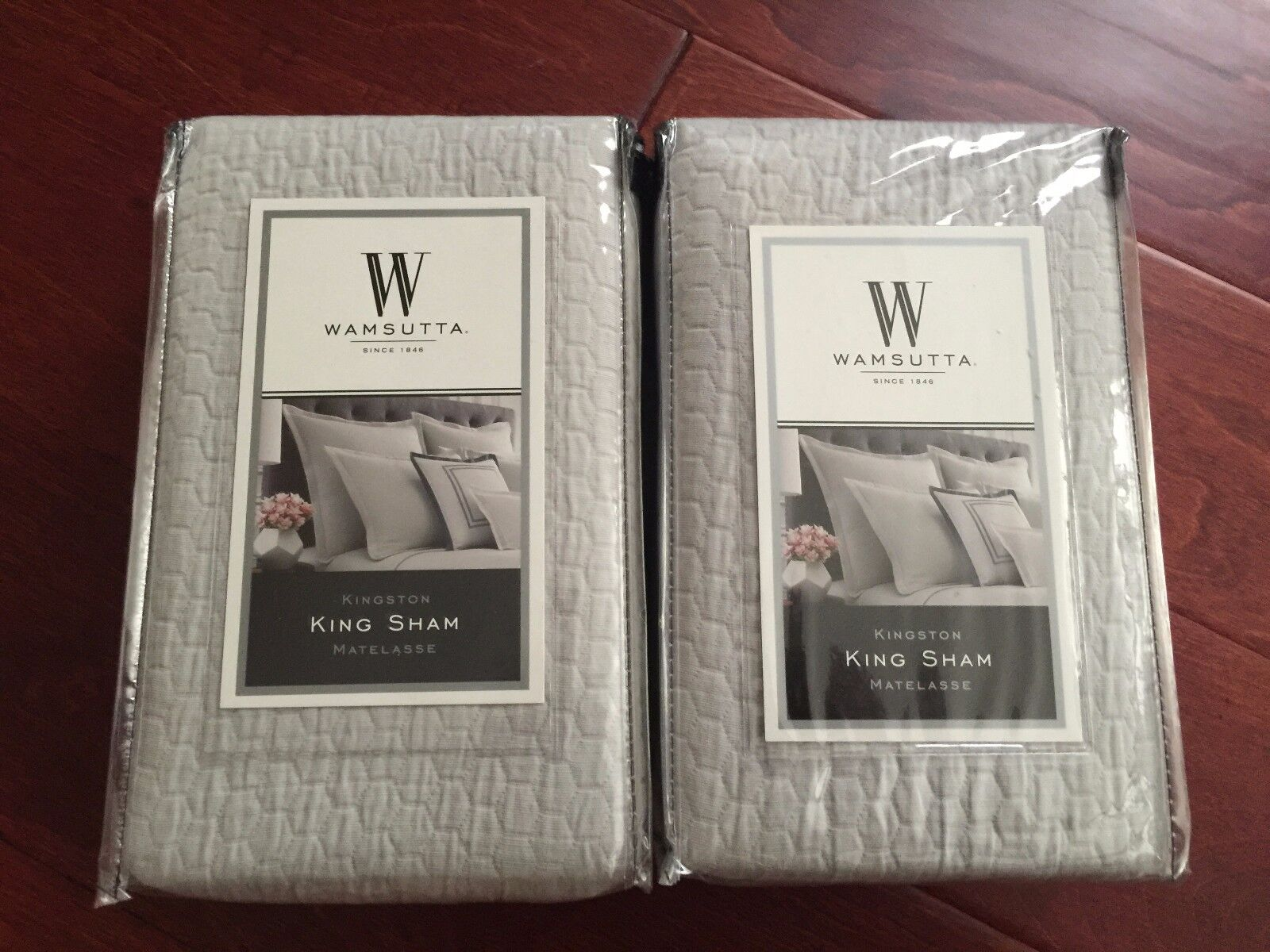 WAMSUTTA 2pc Kingston KING Matelasse grau Shams COTTON Pair NWT
