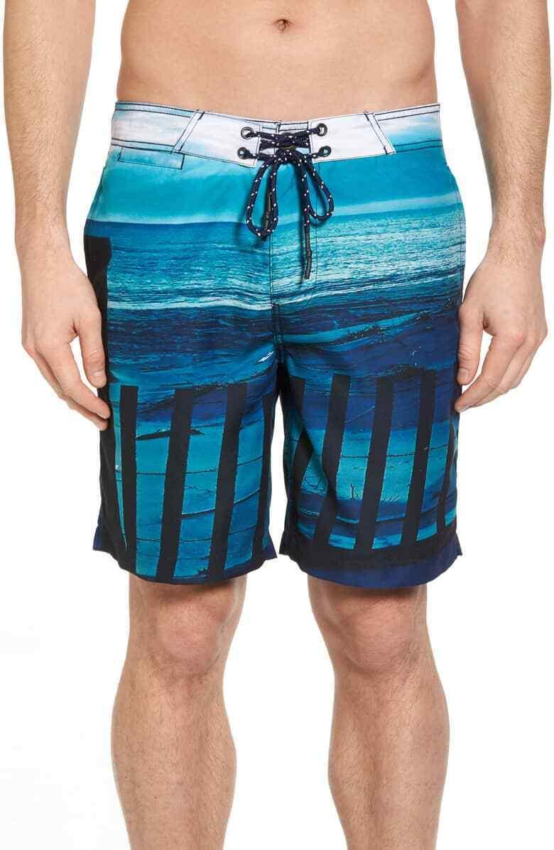 SURFSIDE SUPPLY MEN blueE BEACH FENCE PRINT SHORTS FLAT FRONT SIZE L