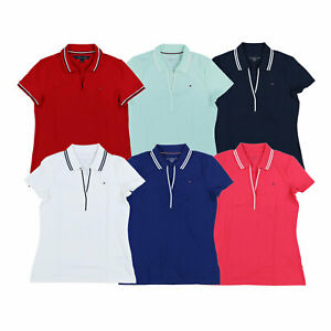 Tommy Hilfiger Womens Polo Shirt Mesh Collared Top Casual Tee Work Blouse New Th