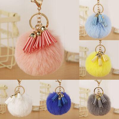 Women Furry Ball Pendant Tassel Key Ring Colorful Pompom Keychain Key Chain Acc