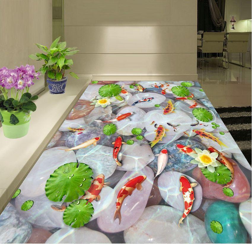 3D fish flower stone 465 Floor WallPaper Murals Wall Print Decal 5D AJ WALLPAPER
