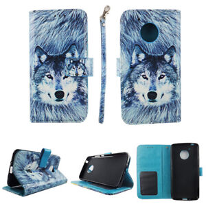 separation shoes b5db2 ed4ff Details about CASE FOR MOTOROLA MOTO E4 WALLET COVER FOLIO PU LEATHER CARD  HOLDER WOLF