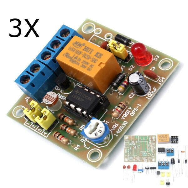 3Pcs DIY Light Operated Switch Kit Light Control Switch Module Board With