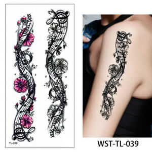 Details about Black Rose Music Notes Temporary Tattoos Flowers Women Flora  Temp Tattoo Flora