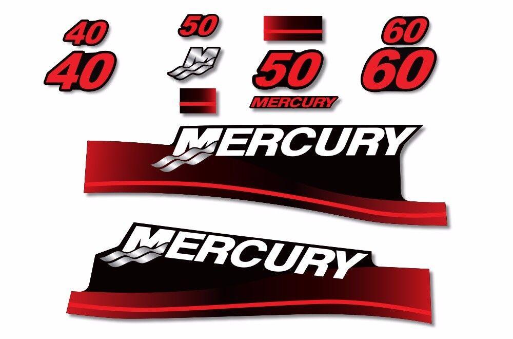 Calcomanías Decorativas 60 Mercury 40 50 Kit de gráfico de motor fuera de borda Pegatina USA Made R
