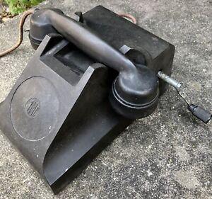 Antique-Black-Bakelite-Tmc-Magneto-Telephone-Private-Hand-Crank-Stage-Phone-Prop