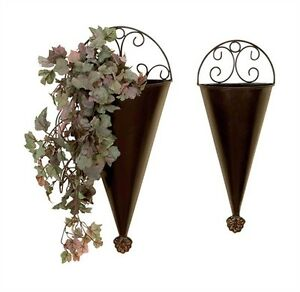 PAIR Large Scroll METAL Wall ART French Decor TUSCAN WALLPOCKETS Planters Sconce eBay