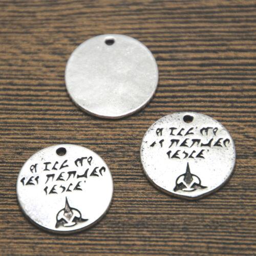15pcs Star Trek silver tone Klingon Qapla charm the ones that love pendant 20mm