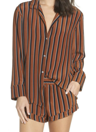 Maison Du Soir Fleur Striped Silk Pajama SET In To