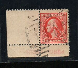 US #526, Type IV, offset print, EFO, plate number single with 2 plate numbers.
