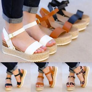 Women-039-s-Ankle-Strap-Flatform-Wedges-Shoes-Espadrilles-Summer-Platform-Sandals