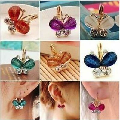 Crystal Rhinestone Alloy Butterfly Earrings Stud Gold Plated Women Jewelry Gift