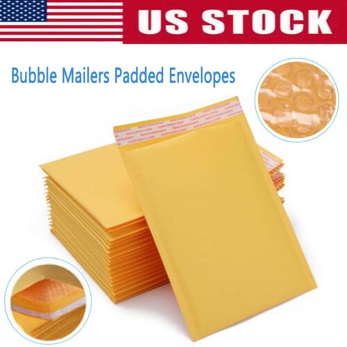 100 x Yellow Kraft Bubble Mailers Padded Envelopes Shipping Bags Self Seal 5 x8