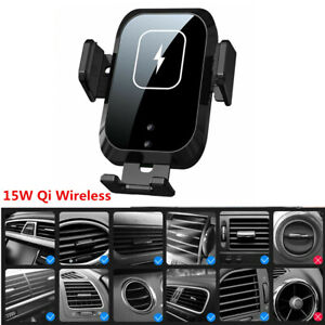 Qi Wireless Fast Charging Car Charger Mount Holder Stand 2in1 Fit For Cell Phone