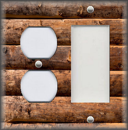 Switch Plates Outlet Covers Metal Light Switch Plate Cover Rustic Brown Wood Design Log Cabin Home Decor Home Garden Vibranthns Lk