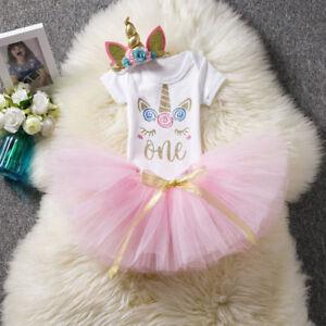 Headband 3pcs Clothes Outfit Tutu Skirt Baby Girls 1st Birthday Unicorn Romper