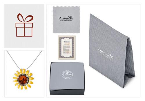 """Silberne /""""Amber Sun/"""" Halskette mit Cognac Bernstein und Vergoldung gute Qualität"""