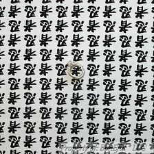 BonEful FABRIC FQ Cotton Quilt White Black B&W Sm Stripe Asian Ninja Letter Art