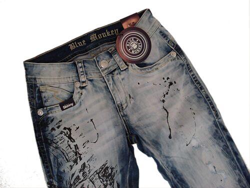 26,27,28,29,30,31 //Länge 32 BLUE MONKEY  Jeans  LAURA  BM3501 denim used  Gr