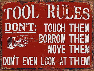 Tool Rules Red Metal Tin Sign Workshop Man Cave Fathers Day Wall Art Home Decor