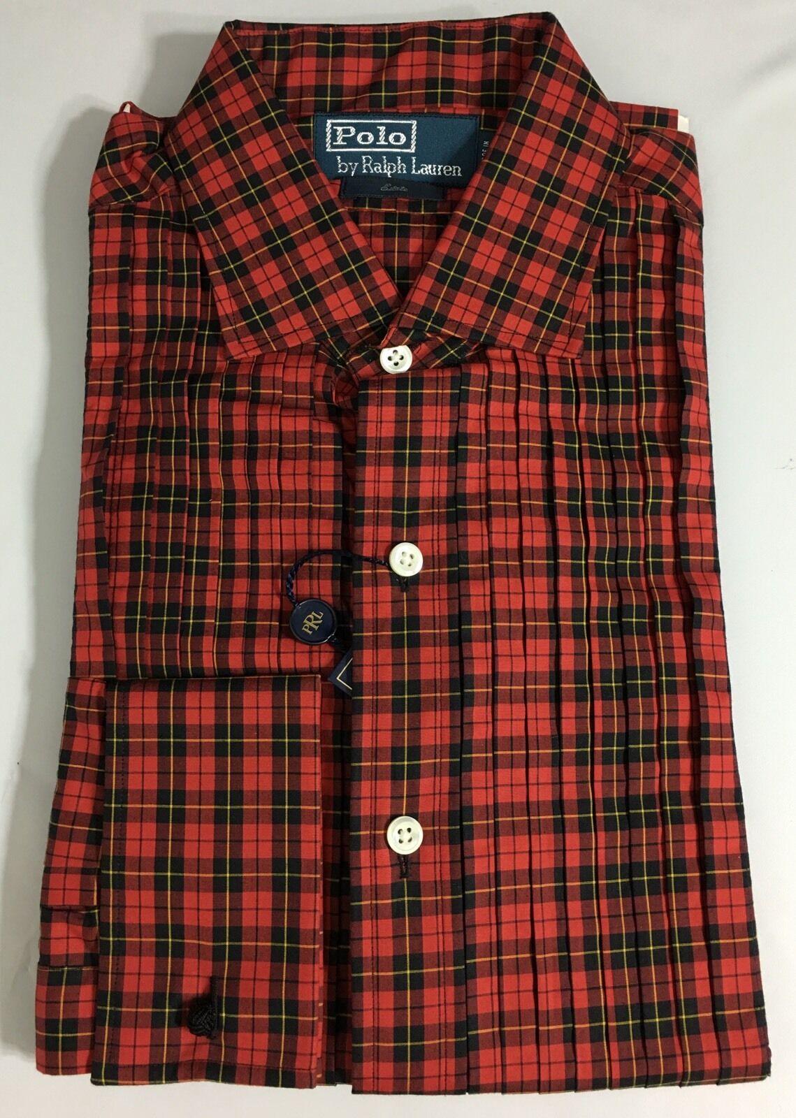 Polo Ralph Lauren Tuxedo Dress Shirt Mens 16 40 41 Red Glen Plaid Estate