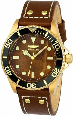 New Men's Invicta 23417 Pro Diver Brown Dial Gold Tone Case Brown Leather Watch