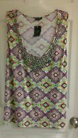 Jonathan Martin Fancy Tank Multi Color Diamond Racerback Women's Plus Size 1x