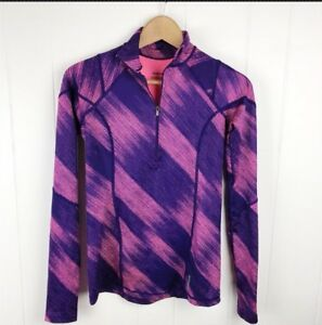 Reebok-Womens-XS-Halfzip-Pullover-Pink-Purple-Print-Thumbholes-Athletic-G25