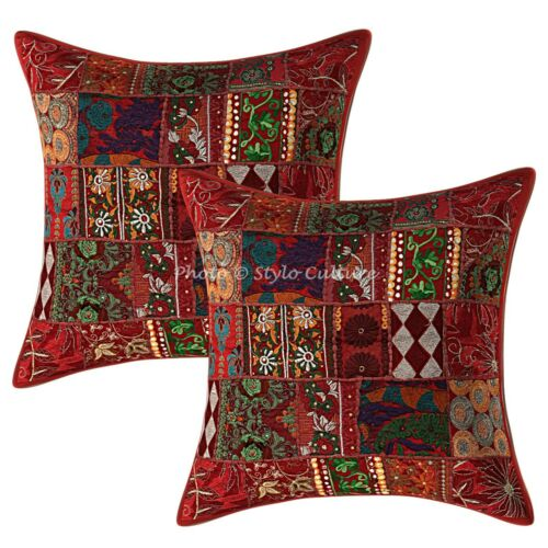 Ethnic Cotton Pillow Covers Maroon 24x24 Vintage Patchwork Boho Cushion Covers
