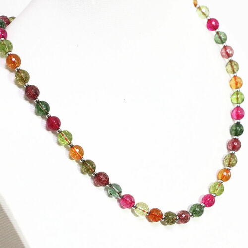 10mm multicolor tourmaline quartz faceted round Gemstone beads necklace 18/'/' AAA