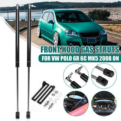 Robasiom Pair Front Hood Bonnet Gas Struts Support For VW Polo 6R 6C MK5 2008-Up