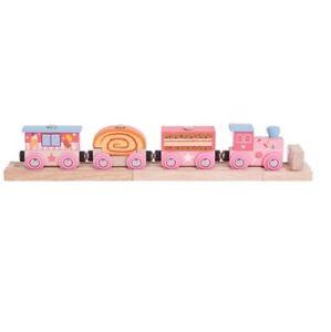 Train en bois avec wagons loco jouet garçon circuit de train en bois 2 rails n°8