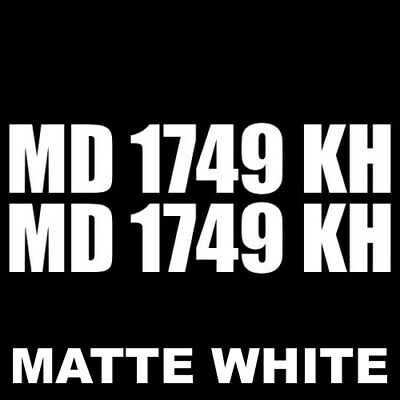 "Matte Black Set of 2 Custom Boat Registration Numbers Letters Decal 4/"" x 20/"""